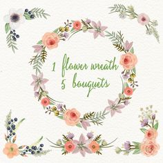 """4.5USD Watercolor hand painted floral frames clipart: """"FLORAL WREATHS"""" pink flowers clipart wedding clipart DIY invite greeting card floral clipart hand painted"""