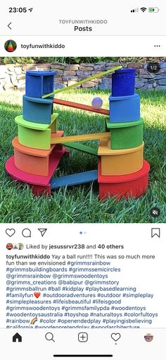 Fun Activities For Kids, Infant Activities, Crafts For Kids, Grimms Rainbow, Montessori Playroom, Wooden Rainbow, Inspired Learning, Toddler Art, Wood Creations