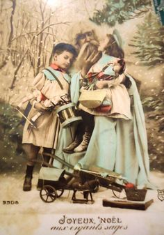 Antique Santa postcard - Father Christmas Santaclaus, presents toys doll, boy…
