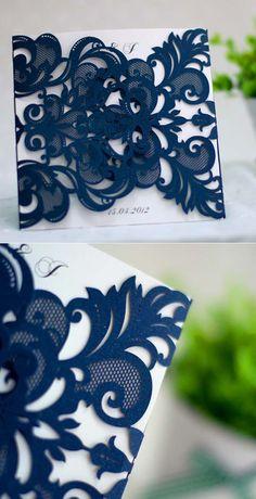 navy blue laser cut pocket wedding invitations EWWS032