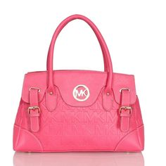Michael Kors Logo Signature Medium Pink Satchels Outlet