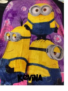 x Despicable Me 'Girl Peace Minions' Plush Silky Soft Throw - Personalized by CACBaskets on Etsy Minion S, Long Car Rides, Watch Cartoons, Kids Blankets, Sewing Studio, Despicable Me, Sleepover, Bright Pink, Fireworks