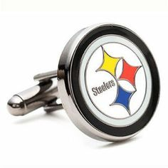 Pittsburgh Steelers NFL Logo'd Executive Cufflinks w/Jewelry Box by JR Sports. $59.95. The official logo of the National Football League's Pittsburgh Steelers. Enamel finish cufflinks on a gold plated backing. The cuff links are displayed beautifully in this white jewelry box included.  Approximately 3/4 diameter. Bullet back closure. 3/""