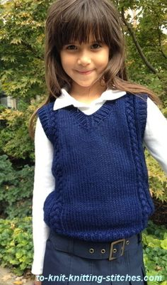 girl or boy vest knitting pattern with cable panels.  Get free pattern today.
