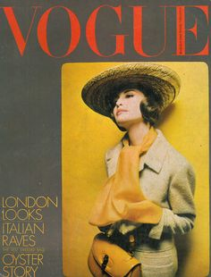 Vogue cover, March 1964, hat, yellow scarf, yellow bag, coat
