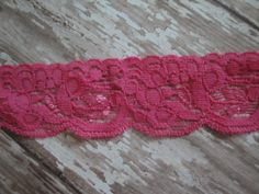 Hot Pink 1 1/4 Wide Scalloped Stretch Lace Elastic by stephanieb77, $2.50