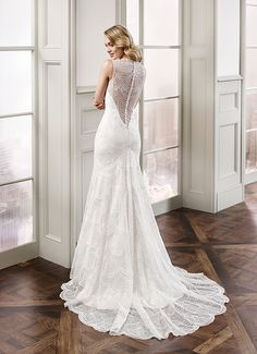 Eddy K. Milano MD175: back - sequence embroidered lace sheath wedding dress. Available in Ivory-Light Gold / Ivory-Ivory