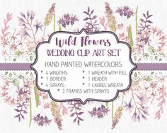 Wedding clip art set in watercolors; hand painted wild flowers; watercolor clip art; weddings; DIY wedding; instant download by LollysLaneShoppe on Etsy