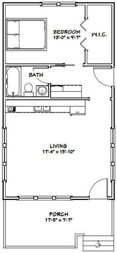 18x32 Tiny House -- 576 sqft -- PDF Floor Plan -- Model 1