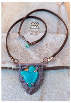 Turquoise Copper Necklace: Unique Rustic Necklace - Chakra Stone Pendant - Riveted Shield Pendant - Oxidized copper and leather necklace.