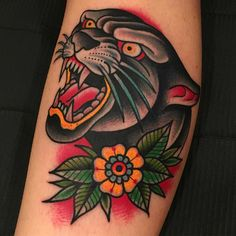 56 Trendy tattoo old school pantera american traditional Traditional Panther Tattoo, Traditional Tattoo Old School, Traditional Tattoo Design, Traditional Ink, Traditional Tattoo Flash, American Traditional, Traditional Sleeve, Old Tattoos, Trendy Tattoos