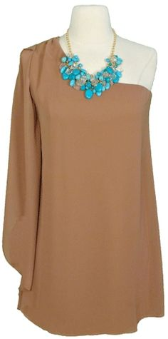 Camel, one shoulder with a attention grabbing detail, Oh I SO wish I could pull this one off! How beautiful!!!