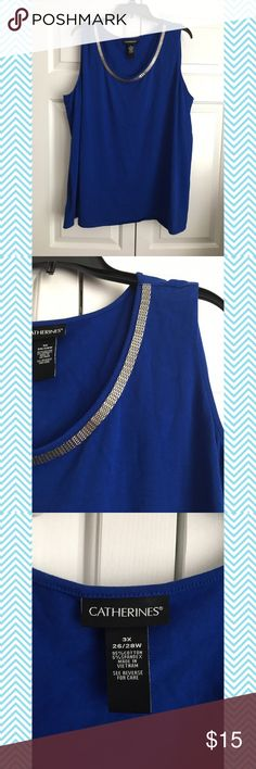 Catherines Plus Size Cobalt Blue Tank Excellent used condition. Side slits and embellished neckline. Size 3X or 26/28. Smoke and pet free home. No trades. :) Crossposted! Catherines Tops Tank Tops