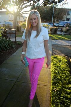 She Said He Said: Pink Denim and White Leather, @Nordstrom, #pink, #pants, #denim, #outfit, #girlie, #style, #OOTD, #leather, #tee, #California, @Christine-Eared, #necklace, #cuff, #heels, #rachelroy, #pumps, #lipstick, #clutch, #aqua, @Charlotte Willner Willner Russe