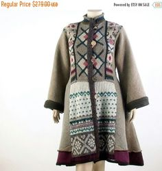 ON SALE     100% recycled one of a kind sweater coat . A Uniquely stylish handmade artsy coat, ideal to wear through fall/mild winter seasons. Unlined, made from various upcycled wool sweaters in taupe, burgundy and tan of varying Nordic patterns.  One of a kind  *Stand up collar *Long kimono sleeves *Deep side slit pockets *Quirky vintage button/front loop closure *Slightly fit and flared design *100%wool  Dry Clean Only  Fits size Large/XL US 14/16  Bust- 44-46 inches (112-117 cm) Waist…