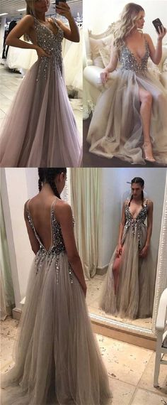 Unique Deep V-neck rhinestone Beaded prom Dresses, Light Grey Side Slit Tulle Prom Dresses, PD190485 #Focusdress #promdresses #longpromdresses