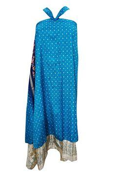 Women's Wraps Blue Skirt Two Layer Reversible Vintage Silk Sari Long Skirts Mogul Interior http://www.amazon.com/dp/B01CAA5818/ref=cm_sw_r_pi_dp_Fv70wb1YV32SA