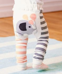Look what I found on #zulily! Pink Stripe Elephant Leggings - Infant #zulilyfinds