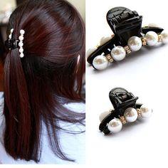 1ピース黒髪爪クリップクリスタルパールプラスチックヘアクリップ用女性/赤ちゃんのラインストーンヘアピンヘアピンヘアスタイリングアクセサリー