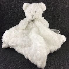 Blankets Beyond White Bear Security Blanket Lovey Swirls Pacifier USED Gray Bow