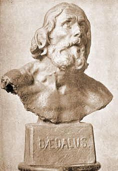 Daedalus (or Daidalos in Greek), father of Icarus, was the greatest inventor of ancient Greece, a man of many skills and arts. The Labyrinth in Minoan Crete was said to have been one of his greatest creations.