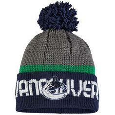 Vancouver Canucks Reebok Center Ice Cuffed Knit Hat with Pom - Gray/Blue Vancouver Canucks, Nhl, Blue Grey, Gray, Fan Gear, Reebok, Knitted Hats, Beanie, Knitting