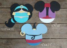 Disney Themed Scrapbooking Embellishments or Window Decorations: Aladdin, Jasmine & Genie Mickey Heads by ScrapWithMeToo on Etsy