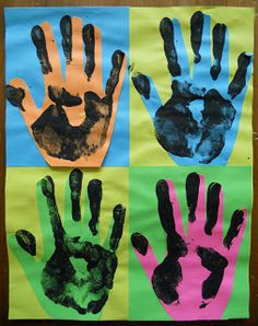 Create Art With Me!: A Quick Modern Art Project: Warhol...love this!  hands painted black and printed on top of colorful hand cut outs.  Could be used as parent gift