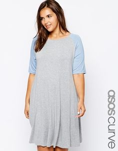 ASOS CURVE Exclusive Swing Dress With Contrast Raglan Sleeve