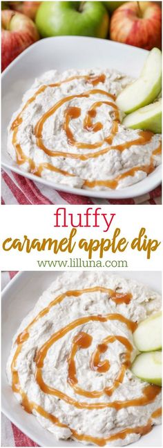 Delicious Fluffy Caramel Apple Dip recipe that is super easy to make and includes marshmallow fluff, caramel sauce, cream cheese, and pumpkin pie spice.