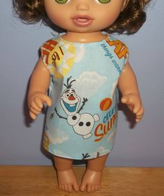 Baby 12 inch Alive doll handmade dress light blue with summer Olaf on it by sue18inchdollclothes on Etsy