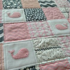 Baby whale quilt for girls also available in teal by Lovesewnseams, $148.00