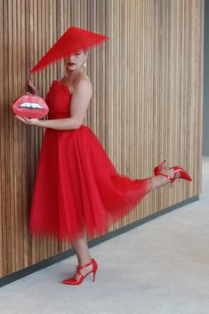 Design: Two Sewing Sisters original Pattern: Drafted by Lauren Fabric: Red Tulle and cotton drill from Spotlight Mayfair Hat: Lauren J Ritchie Self covered belt: Buttonmania Shoes: Wittner Oaks Day, Spring Racing Carnival, Tulle Dress, Spotlight, Outfit Of The Day, Drill, Sisters, Vogue, Spring Summer