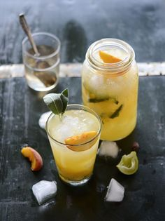 Gin peach cocktail with sage, ginger, and cardamom infused simple syrup