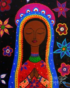 Nuestra Señora Guadalupe  Virgin Guadalupe Mexican Art painting by Prisarts