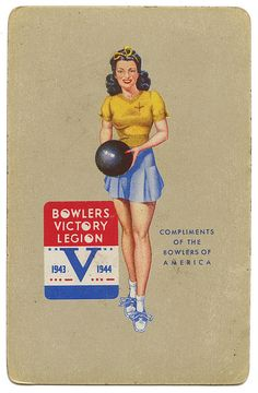 1940s Bowlers Victory Legion playing card. #vintage #WW2 #1940s #bowling #pinup