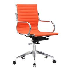 Twist Mid Century Modern Conference Office Chair Back Orange