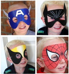 super hero paper masks for children.Kids will have fun making these craft paper mask. - visit to grab an unforgettable cool Super Hero T-Shirt! Superhero Birthday Party, Boy Birthday, Batman Spiderman, Theme Carnaval, Cool Mom Picks, Girl Scouts, Cool Kids, Art For Kids, Children Costumes
