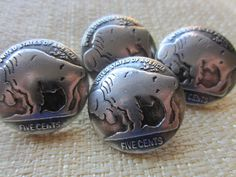 Vintage Buttons -4 matching silver nickle buffalo coin silver metal buttons, heavy weight, ver old(feb 93b) by pillowtalkswf on Etsy