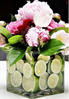 I really like the way they used limes here.  More white in the flowers and a little less pink