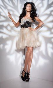 Organza Strapless Short Applique Cascading Ruffles Empire Prom / Cocktail Dress