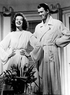 Katherine Hepburn & James Stewart on the set of The Philadelphia Story-one of my favorite movies.