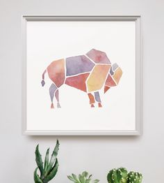 Watercolor Geometric Animal Art Print