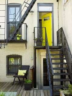 Make your exterior stand out by splashing your front door with a bold, look-at-me color.