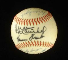 GH Bush +18 Old Timesr HOFers Signed Baseball JSA LOA . $600.00. 18 OLD MAJOR LEAGUE BASEBALL OLD TIMERS, AND PRESIDENT G.H. BUSH, HAND SIGNED RAWLINGS OFFICIAL LEAGUE BASEBALL. SIGNATURES INCLUDE THESE HALL OF FAME INDUCTEES: JUAN MARICHAL (TWICE SIGNED), WARREN SPAHN, ORLANDO CEPEDA, ENOS SLAUGHTER, MONTE IRVIN, AND ERNIE BANKS. OTHER NOTABLE SIGNATURES INCLUDE: TOM GORMAN AND GEORGE BUSH.  GREAT AUTHENTIC BASEBALL HALL OF FAME AND MAJOR LEAGUE BASEBALL AND GEORGE...