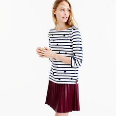 BOATNECK T-SHIRT IN DOTTED STRIPES by J.Crew, women, clothing, fashion, style, clothes