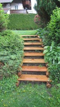 New Backyard Garden Ideas Landscaping Walkways Brick Path Ideas Garden Stairs, Terrace Garden, Garden Paths, Hillside Landscaping, Outdoor Landscaping, Landscaping Ideas, Sloped Backyard, Backyard Patio, Landscape Stairs