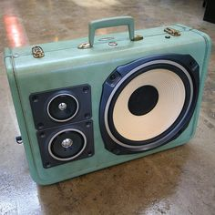 Old suitcases turned into functioning boomboxes!!