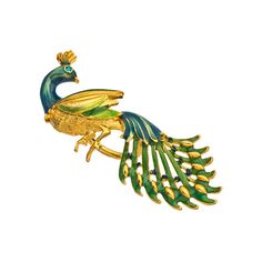 Shameless Jewelry Enamel and Gold Peacock Ring ($83) ❤ liked on Polyvore