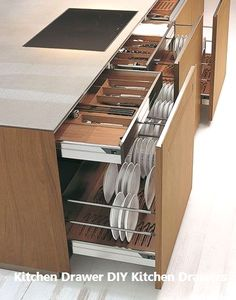 Easy DIY small kitchen organization ideas and storage tips for your cabinets, yo… – Type Of Kitchen Storage Clever Kitchen Storage, Kitchen Cabinet Storage, Kitchen Drawers, Storage Cabinets, Diy Storage, Kitchen Organization, Kitchen Cabinets, Storage Ideas, Organization Ideas